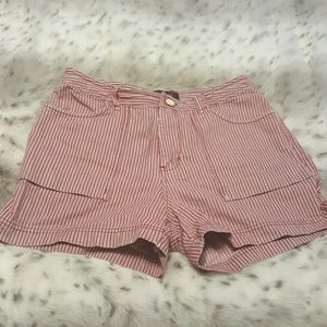 Red  and blue railroad striped cotton shorts